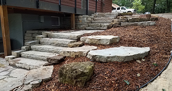 Landscape Design installation Walls, Steps Columns